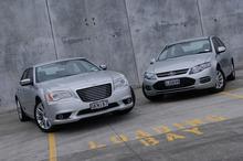 Chrysler 300C vs Ford Falcon EcoBoost.  Photo / David Linklater