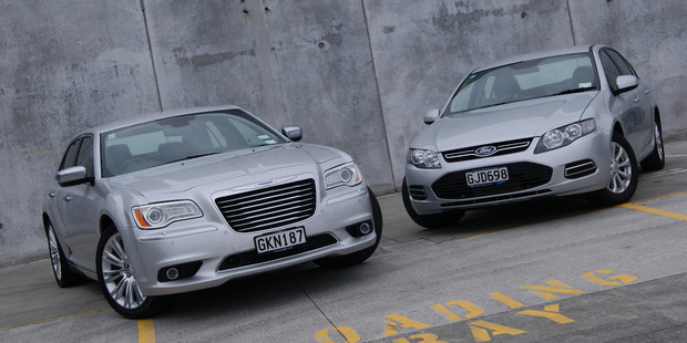 Chrysler 300C vs Ford Falcon EcoBoost.  Photo / David Linklater
