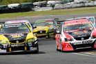V8 Super Tourers at Pukekohe on the weekend. Scott McLaughlin left and Greg Murphy on right. Photo / Geoff Ridder