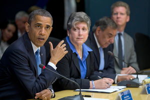 Voters will observe how Barack Obama handles Superstorm Sandy. He's pictured discussing the disaster with Cabinet members. Photo / AP