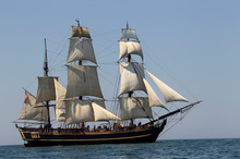 2010 file photo of the tall ship HMS Bounty. The crew had to abandon her to the waves as Hurricane Sandy hit them off the coast of North Carolina. Photo / AP 