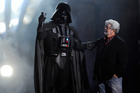 The new Star Wars films may follow on from the death of Darth Vader, pictured with creator George Lucas. Photo / AP