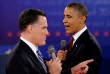 Voters will be watching how Mitt Romney and Barack Obama respond to Hurricane Sandy. Photo / AP