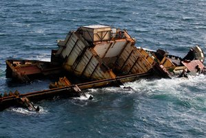 More oil, chemicals and debris are likely to escape from the ship, a meeting has been warned. Photo / Christine Cornege