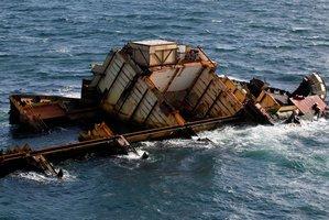 The wreck of the ship Rena on the Astrolabe reef off the Bay of Plenty coast near Tauranga. Photo / Christine Cornege