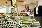 Sue Kedgley and former Australian Greens leader Bob Brown inspect the fresh food section of an Auckland supermarket. Photo / Brett Phibbs