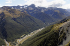 A couple camping near Arthur's Pass (above) have been trapped by a swollen river. Photo / File