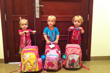 L-R: Lillie, Jackson, Willsher Weekes. The two-year-old New Zealand triplets died in a fire in a Doha mall.Photo / Supplied