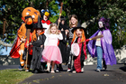These trick-or-treaters in Parnell certainly deliver on the first rule in Halloween etiquette - good costumes. Picture / Sarah Ivey