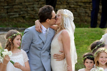 Kate Moss and Jamie Hince on their wedding day. Photo / AP