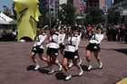 White Knights Marching Girls mimicking Monty Python's Ministry of Funny Walks.