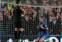 Chelsea's Fernando Torres, right, reacts to his second yellow card during their English Premier League soccer match against Manchester United at Stamford Bridge. Photo / Getty Images. 