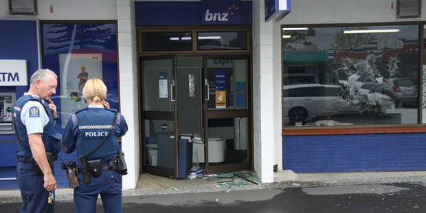 The BNZ in Whangamata was attacked by a man with an axe this morning. Photo / Bay of Plenty Times