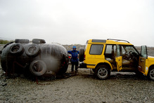 A giant buoy washed ashore in Greymouth. Photo / Supplied