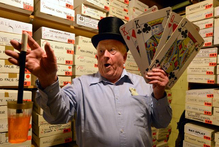 Dunedin magician David Taylor has a spell at home. Photo / Stephen Jaquiery