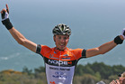 Stage winner Mike Northey of Auckland celebrates during stage 2 of the Tour of Southland. Photo / Getty Images