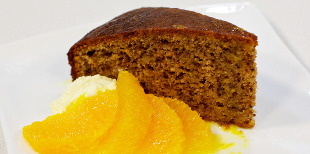Spiced orange and olive oil dessert cake with botrytis oranges from Riverina, NSW. Photo / Supplied