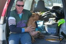 Peter Fisher, pictured in April after he was reunited with his dog Kahu. Mr Fisher remains in intensive care after he was assaulted at the weekend. Photo / WTA