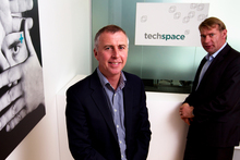 Clayton Wakefield (left) and David Graham, who started running Techspace from a cafe table, now employ 30-40 people. Photo / Steven McNicholl