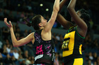 Jhanueke Fowler of Jamaica shoots over Anna Harrison. Photo / Getty Images