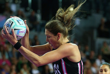 Irene van Dyk takes a pass in the match between New Zealand and Malawi. Photo / Getty Images 