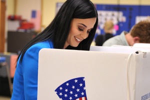 Singer Katy Perry casts her election ballot at a polling place in Los Angeles. Photo / AP