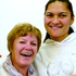 Olympic champion Valerie Adams greets Raylene Bates, manager of the athletics team for the London Olympics, during a visit to Dunedin yesterday. Photo / Otago Daily Times