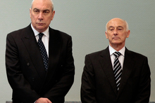 Gary Urwin (right) and Peter Steigrad (left), two of the three former Bridgecorp directors who are being sued for $442 million. Pictures / Brett Phibbs