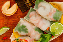 Vietnamese rice paper rolls with mint, fish sauce and basil. Photo / Babiche Martens