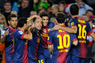 FC Barcelona's Jordi Alba, center, reacts after scoring against Celta Vigo during a Spanish La Liga soccer match at the Camp Nou stadium in Barcelona. Photo / Getty Images.