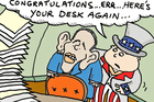 """Congratulations ... Err ... Here's your desk again ... "" / Cartoon by Peter Bromhead"