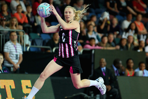 Laura Langman takes a pass in the match against Malawi. Photo / Getty Images