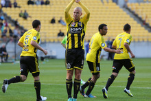 Stein Huysegems of the Phoenix celebrates his goal during the round three A-League match between the Wellington Phoenix and Brisbane Roar at Westpac Stadium. Photo / Getty Images. 