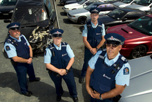 Senior Constables Alan Hooper and Sarah Thorn, Constable Murray Farrell and Sergeant Paul Gray. Photo / Brett Phibbs