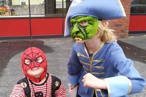 The wee Darbys as Spidee-Pirate and Admiral Zombie. Photo / Supplied