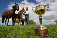Leon Casey with Melbourne cup winner Ethereal (far left). Photo / Steven McNicholl