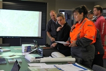 A search and rescue base was set up in the Hokitika fire station as the search continued for Christchurch tramper Rex Taylor. Photo / Greymouth Star
