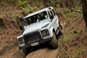 Land Rover Defender 110 in action at Woodhill Forest, Auckland. Photo / Phil Hanson