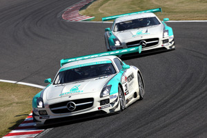 Kiwi Jono Lester is driving second for Petronas Syntium Team in a Mercedes-Benz SLS AMG GT3 in Japan. Photo / Supplied