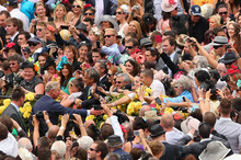 Prince Charles was a popular figure when he mingled with the Melbourne Cup crowd at Flemington yesterday. Photo / Getty Images