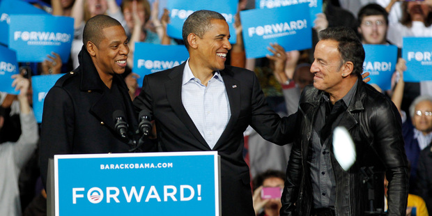 Loading Jay-Z, President Barack Obama and Bruce Springsteen. Photo /AP