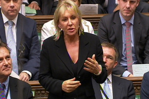 Conservative MP Nadine Dorries talks during Parliament, in London. Photo / AP