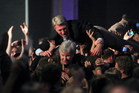Minneapolis Mayor Rybak goes crowd surfing with his mother Loraine, after it was announced that President Barack Obama had won re-election. Photo / AP