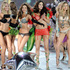 Models (l-r) Izabel Goulart, Lindsay Ellingson, Miranda Kerr, Adriana Lima, Doutzen Kroes and Candice Swanepoel during the finale of the 2012 Victoria's Secret Fashion Show.Photo / AP