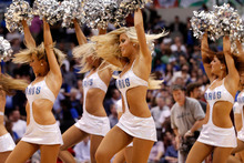 The Dallas Mavericks dancers perform during an NBA basketball game against the Portland Trail Blazers. Photo / AP