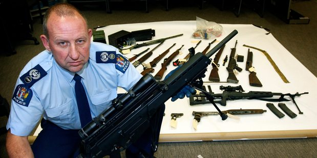 Most illegal arms, such as this one held by Detective Inspector Dave Archibald, are stolen from homes or collectors. Picture / Sarah Ivey
