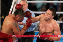 Joseph Parker (right), in his first New Zealand heavyweight fight,