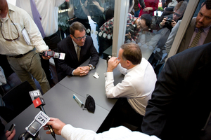 John Banks and John Key in a huddle during their now-infamous cup of tea. Photo / Dean Purcell