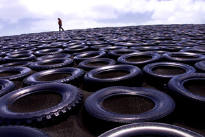 Tyres can be used on farms to help prevent land erosion. Photo / Alan Gibson