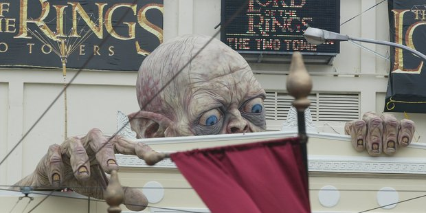 The giant sculpture of Gollum that was unveiled over the Embassy Theatre for the New Zealand premiere of the Lord of the Rings : The Two Towers in Wellington. Photo / File